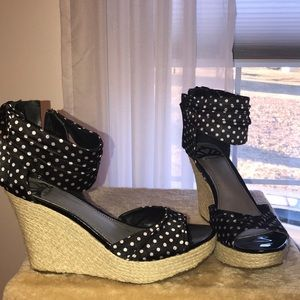 fcf99dacc9 Poka dot wedges, only worn once!